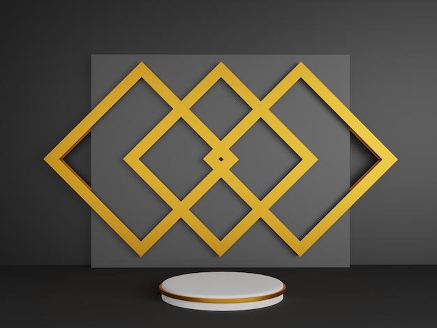 Renderowania 3d, streszczenie półka biały okrąg na czarnym tle złota