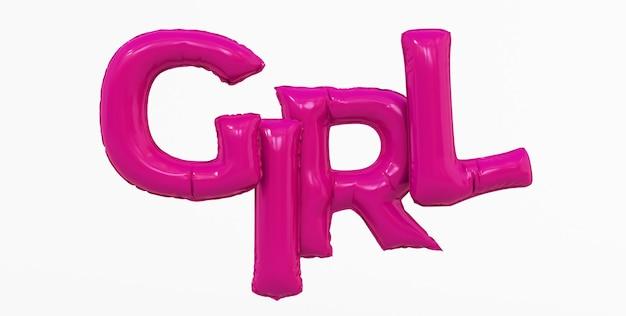 Renderowania 3d streszczenie różowy dziewczyna tekst na białym tle.
