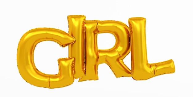 Renderowania 3d streszczenie złota dziewczyna tekst na białym tle.