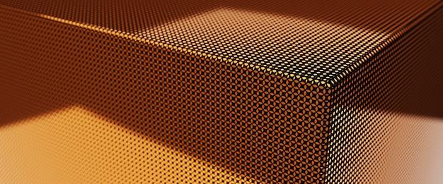 Renderowania 3d streszczenie złoty grzbiet luksusowe kostki tło.