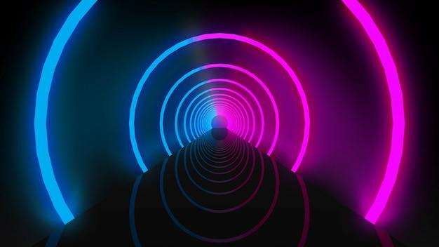 Renderowania 3d. świecące fioletowe i niebieskie wiązki światła okrągłe pierścienie tunel otwór ściana.