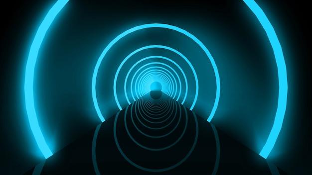 Renderowania 3d. świecące niebieskie wiązki światła okrągłe pierścienie tunel otwór ściana.