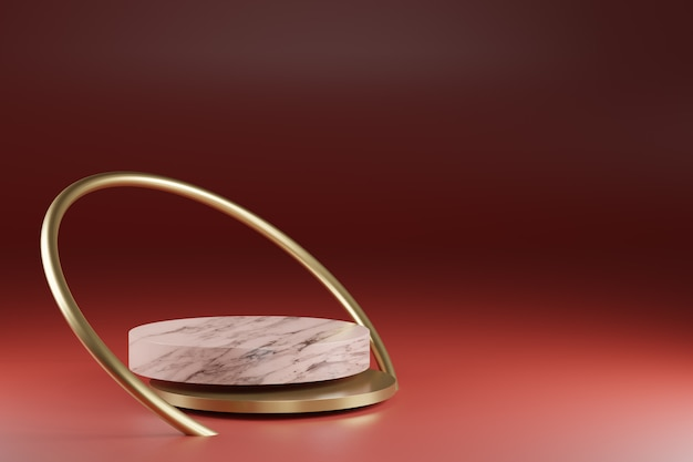 Renderowania 3d, sztuka dekoracji złoty pierścionek w tle, marmurowa tekstura cokół cylindra, podium, stojak wystawowy. makieta