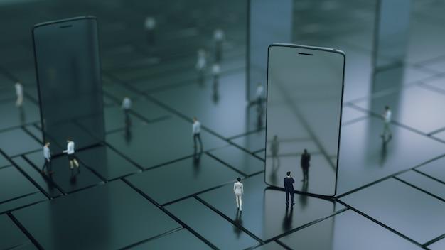 Renderowania 3d. telefon komórkowy i różni ludzie