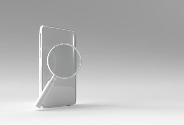 Renderowania 3d telefon komórkowy z lupą projekt makiety.