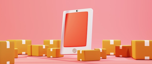 Renderowania 3d telefonu komórkowego i paczki. biznes online mobilny i e-commerce.
