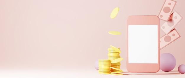 Renderowania 3d telefonu komórkowego i pieniędzy. zakupy online i e-commerce na internetowej koncepcji biznesowej.