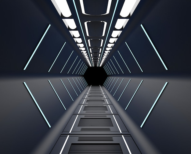 Renderowania 3d umeblowane, statek kosmiczny czarny wnętrze