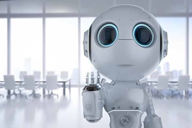 Renderowania 3d uroczy robot ze sztuczną inteligencją z ręką postaci z kreskówek w górę