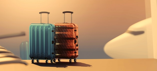 Renderowania 3d walizki podróżne w hali odlotów lotniska i samolotu