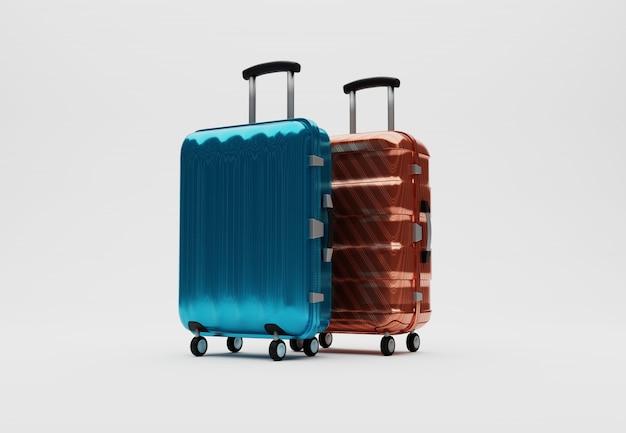 Renderowania 3d walizki podróżnika w terminalu lotniska hali odlotów na białym tle