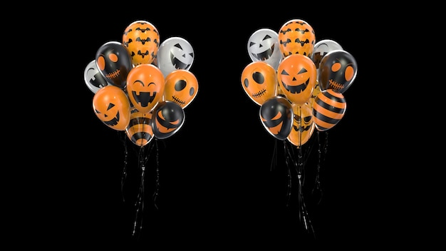 Renderowania 3d wiązka balonów z teksturą halloween