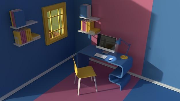 Renderowania 3d. widok izometryczny wnętrza w minimalistycznym stylu nowoczesnej kreskówki. pokój w wieczornym słońcu. z krzesłem, stołem, komputerem, oknem