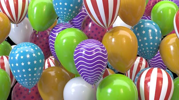 Renderowania 3d wielokolorowe balony na czarnym tle