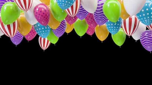 Renderowania 3d wielokolorowe balony uderzające w sufit na czarnym tle