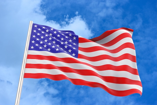 Renderowania 3d. wietrznie machając usa amerykańską flagę narodową ze ścieżką przycinającą na białym tle na błękitne niebo.