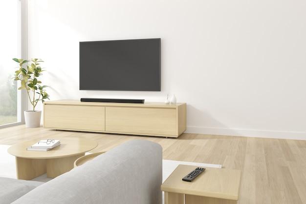 Renderowania 3d wiszącego ekranu telewizora na białej ścianie.