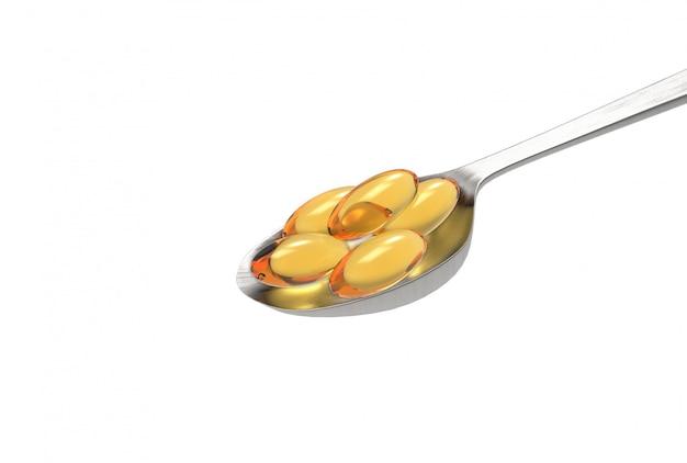 Renderowania 3d. witaminy omega-3 kapsułki oleju z ryb na metalowej łyżce na białym tle