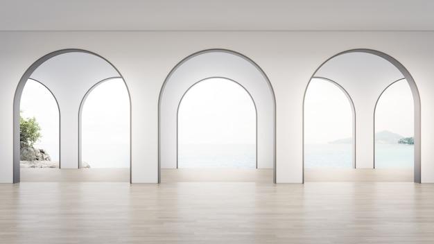 Renderowania 3d wnętrza domu z widokiem na morze.