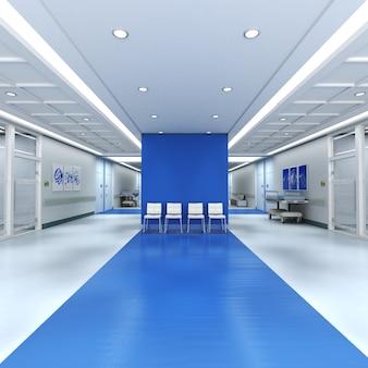 Renderowania 3d wnętrza szpitala z dużą ilością miejsca na kopię