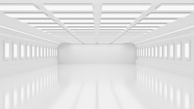 Renderowania 3d wnętrze białe i puste fabryki lub magazynu