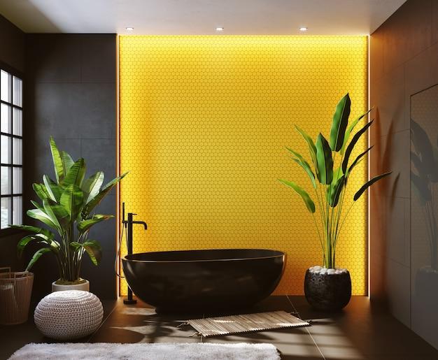 Renderowania 3d. wnętrze nowoczesnej łazienki z żółtą mozaiką na ścianie. prostokątne lustro i okrągła czarna umywalka.