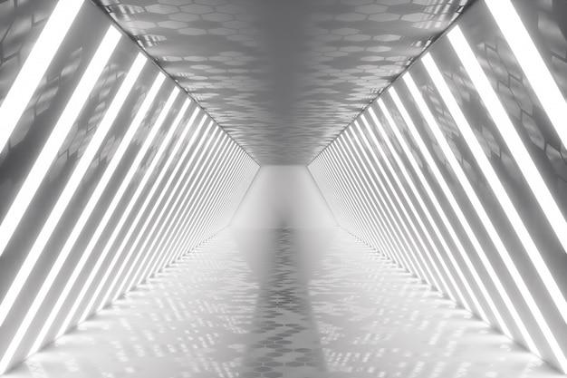 Renderowania 3d wnętrze pokoju streszczenie z neonów. futurystyczna architektura. makieta do projektu