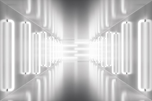 Renderowania 3d wnętrze pokoju streszczenie z neonów. futurystyczna architektura tło. makieta do projektu