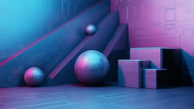 Renderowania 3d wnętrze science fiction, proste geometryczne kształty. krajobraz fantastycznego obcego miasta. futurystycznego metalu abstrakcjonistyczny tło, neonowy światło. nowoczesna koncepcja podium.