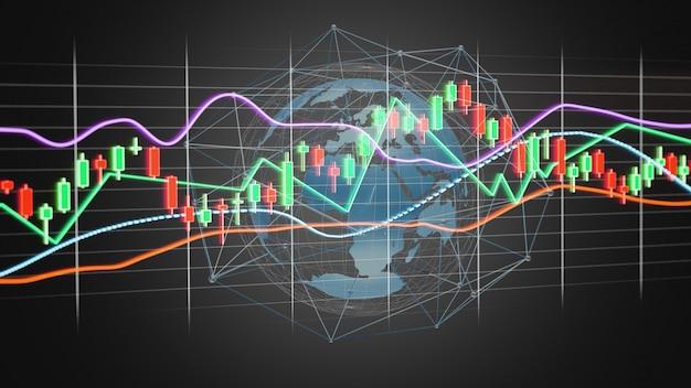 Renderowania 3d wyświetlanie informacji o handlu giełdowym na futurystycznym interfejsie