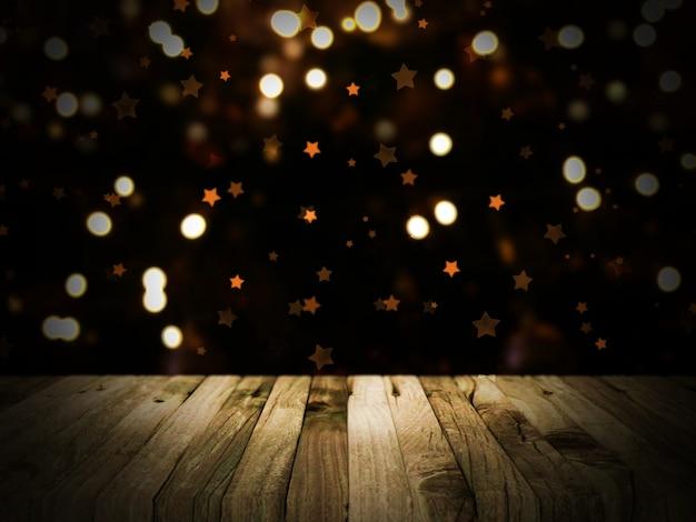 Renderowania 3d z drewnianym stole z defocussed bokeh boże narodzenie światła w tle