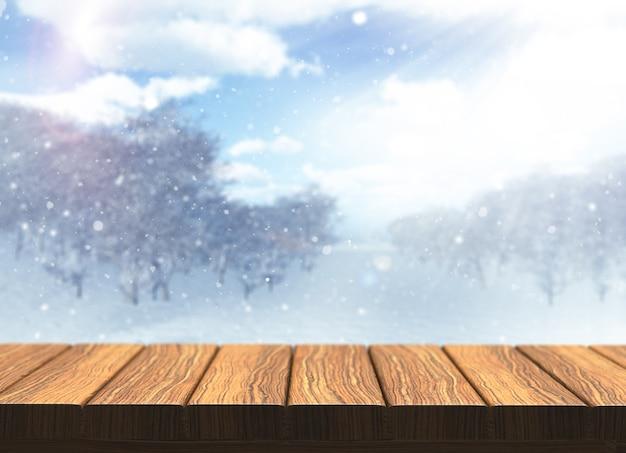 Renderowania 3d z drewnianym stole z defocussed śnieżny krajobraz