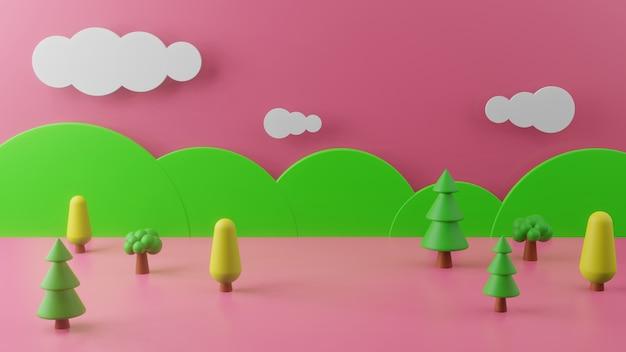 Renderowania 3d z górami i drzewami na różowym tle. koncepcja streszczenie tło