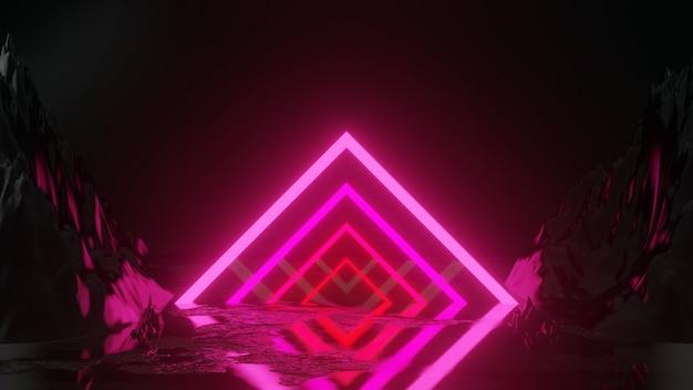 Renderowania 3d z neonów kwadratowy kształt na kamieniu
