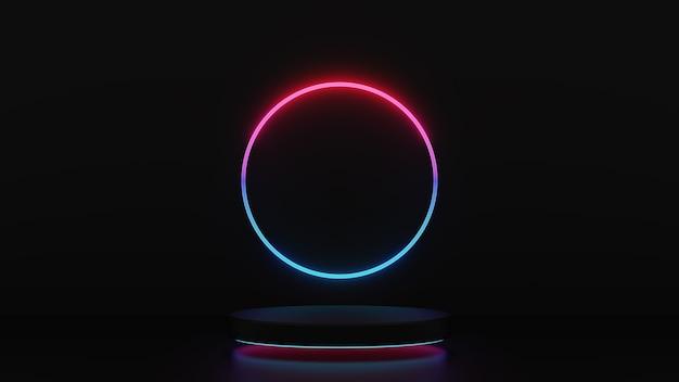 Renderowania 3d z różowym niebieskim światłem kroków cokołu z okręgiem na białym tle na ciemnym tle, abstrakcyjna minimalna koncepcja, pusta przestrzeń, prosty czysty design