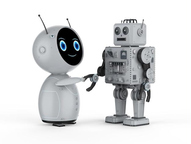 Renderowania 3d zabawka robota ręka drżenie na białym tle