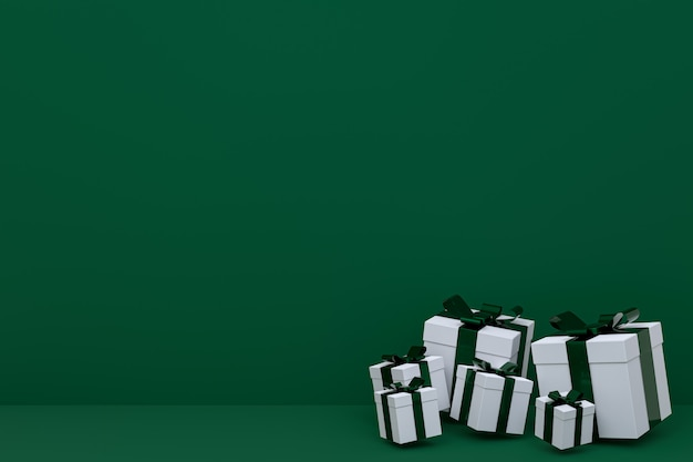 Renderowania 3d, zielone tło kolorowe realistyczne pudełko z kolorową kokardką na pustej przestrzeni