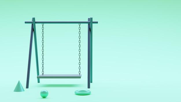 Renderowania 3d zielony szkodnik dzieci huśtawka. renderowania 3d premium zdjęcia