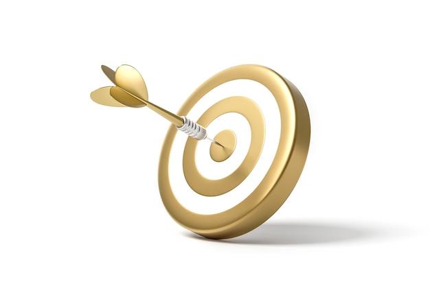 Renderowania 3d złota strzałka ma na celu tarczę na białym tle
