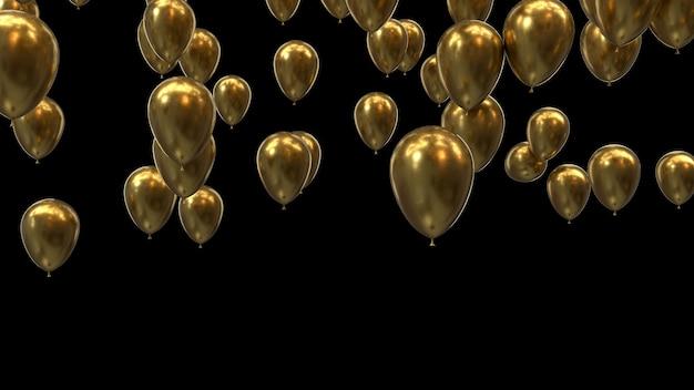 Renderowania 3d złote balony na czarnym tle