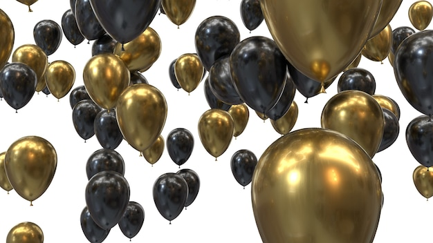 Renderowania 3d złote i czarne balony na czarnym tle