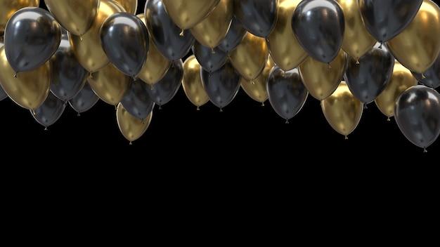 Renderowania 3d złote i czarne balony uderzające w sufit na czarnym tle