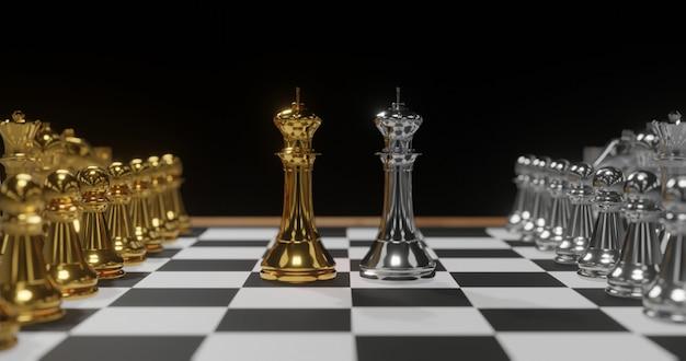 Renderowania 3d złote i srebrne szachy., koncepcja sprzeczności.