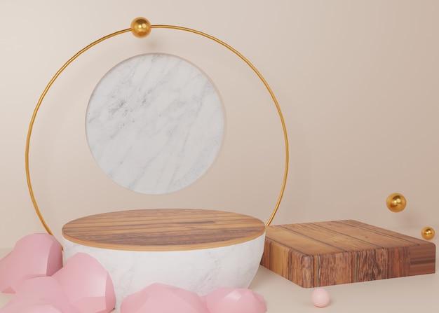 Renderowania 3d złoty pastelowy wyświetlacz podium produkt stojak na tle abstrakcyjna minimalna geometria. obraz premium