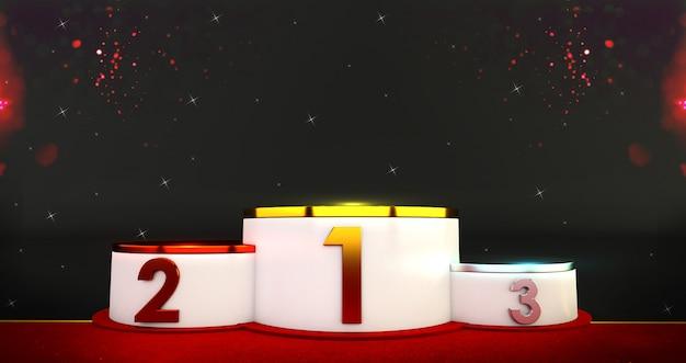 Renderowania 3d zwycięzców podium. złoto, srebro i brązowe podium z konfetti.