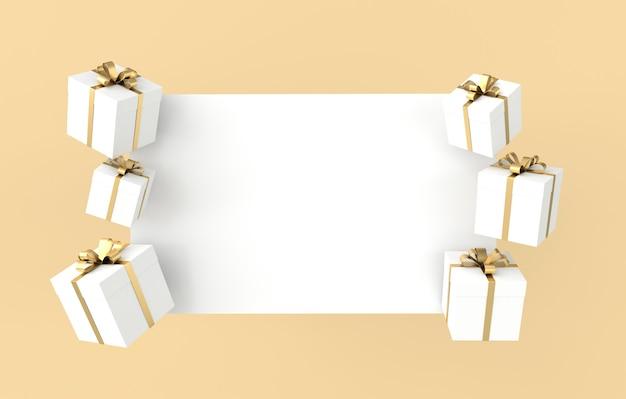 Renderowania białego pudełka z kokardą złotą wstążką i białym papierem na