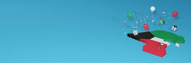 Renderowania mapy 3d flagi kuwejtu z okazji narodowego dnia zakupów i dnia niepodległości