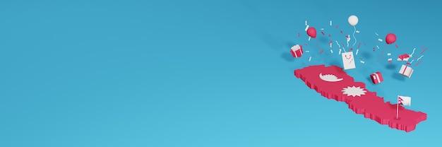 Renderowania mapy 3d flagi nepalu z okazji krajowego dnia zakupów i dnia niepodległości
