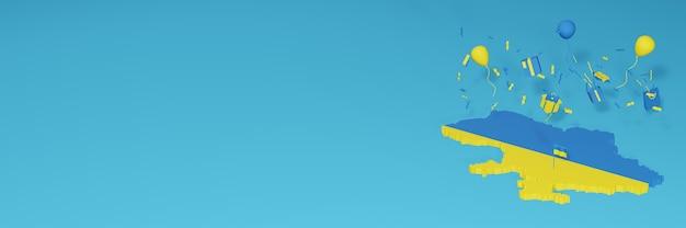 Renderowania mapy 3d z flagą ukrainy, aby uczcić narodowy dzień zakupów i dzień niepodległości