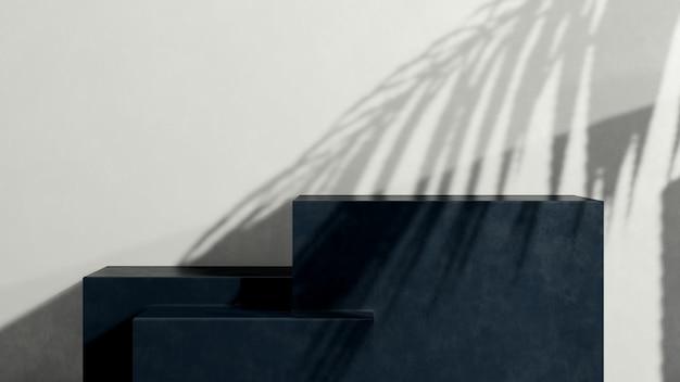 Renderowania obrazu 3d ciemnoniebieskie podium z reklamą wyświetlania produktu na białym tle